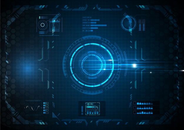 Blue many futuristic function technologia cyfrowa Premium Wektorów