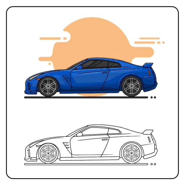 Blue sport car Premium Wektorów