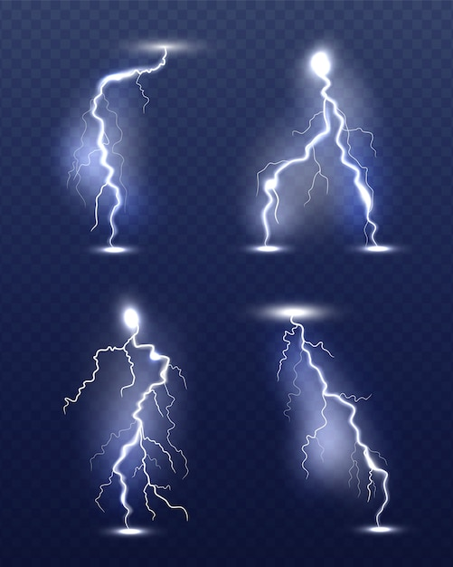 Błyskawica Realistyczna. Blask Energii Specjalne Efekty Burzy Pogodowej Moc Elektryczność Strajk Symbole 3d Premium Wektorów