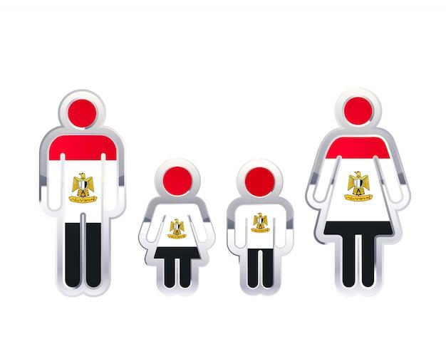 Błyszcząca Metalowa Odznaka Ikona W Kształcie Mężczyzny, Kobiety I Dzieci Z Flagą Egiptu, Element Infografikę Na Białym Tle Premium Wektorów
