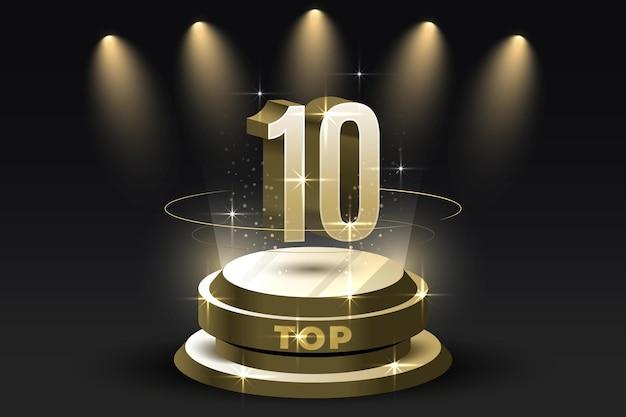 Błyszcząca Nagroda Dla Najlepszej Dziesiątki Na Podium Darmowych Wektorów
