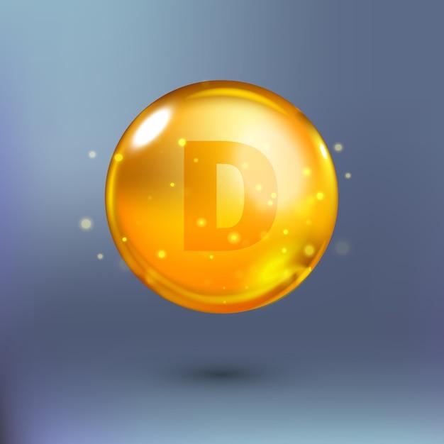 Błyszcząca Złota Kropla Koła Esencji. Ilustracja Premium Wektorów