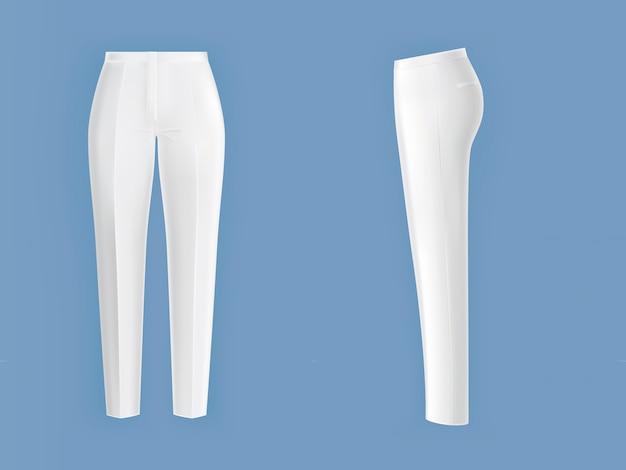 Błyszczące, czyste, białe spodnie damskie Darmowych Wektorów