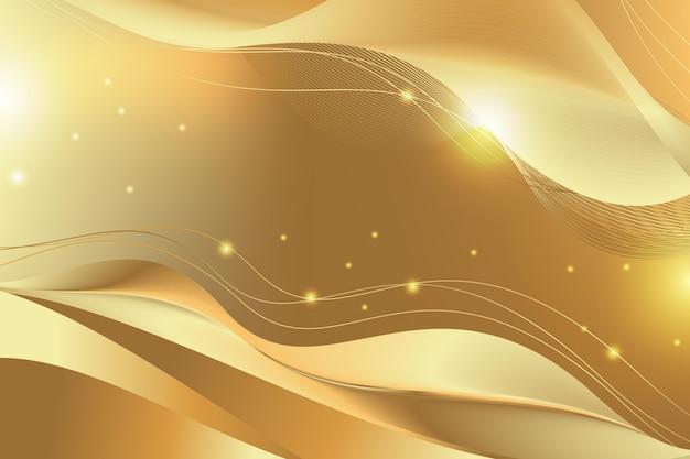 Błyszczące Gładkie Złote Tło Fala Darmowych Wektorów