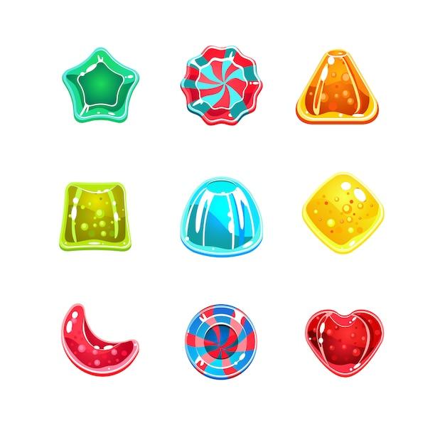 Błyszczące Kolorowe Cukierki O Różnych Kształtach Premium Wektorów