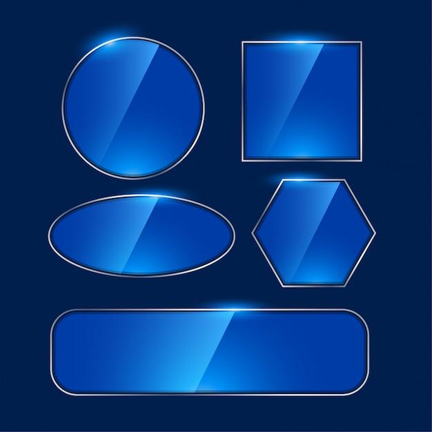 Błyszczące niebieskie ramki lustra o różnych kształtach Darmowych Wektorów