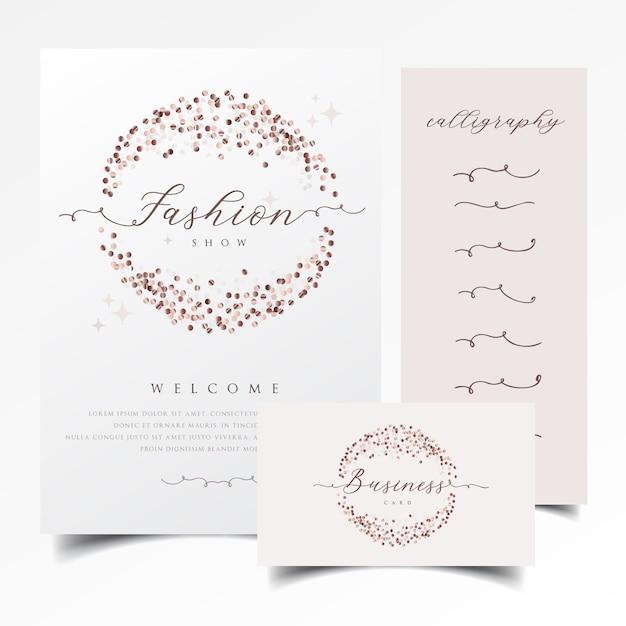 Błyszczące zaproszenie i wizytówki projekt z różanym złotym confetti Premium Wektorów