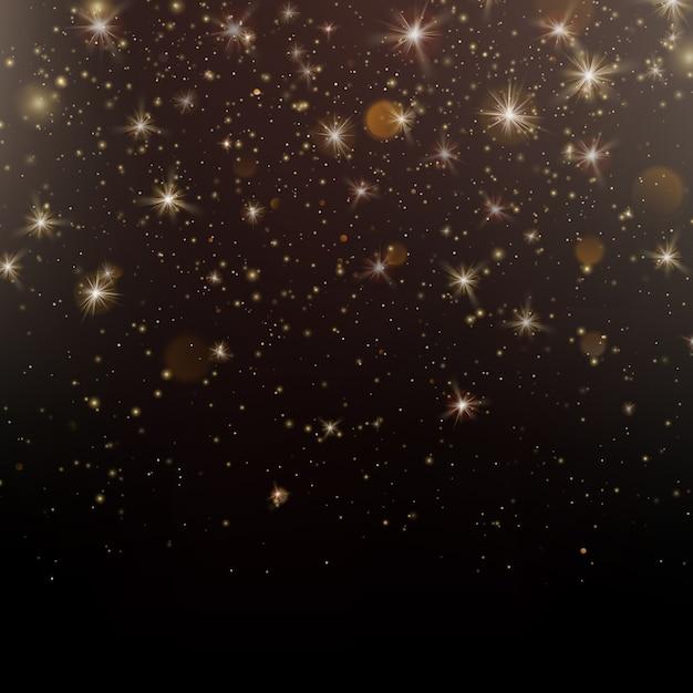 Błyszczące Złote Cząsteczki Musujące Gwiezdny Pył Na Ciemnym Tle. Premium Wektorów