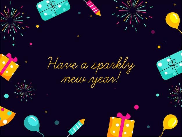Błyszczącego Nowego Roku! Czcionka Na Ciemnym Fioletowym Tle Ozdobiona Pudełkami, Balonami I Rakietą Fajerwerków. Premium Wektorów