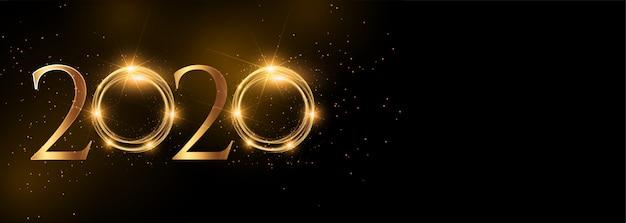 Błyszczący 2020 szczęśliwego nowego roku złoty szeroki sztandar Darmowych Wektorów