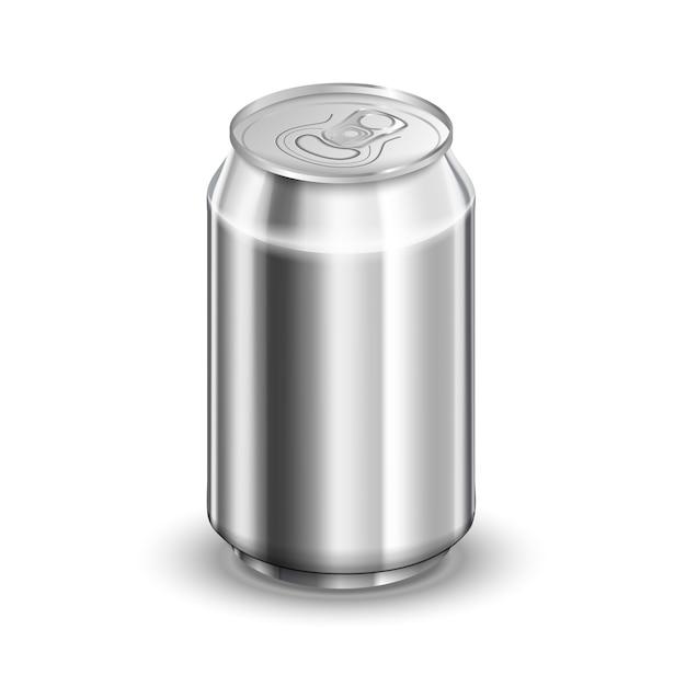 Błyszczący Aluminiowej Puszki, Sody Lub Piwa Szablon Na Białym Tle Premium Wektorów