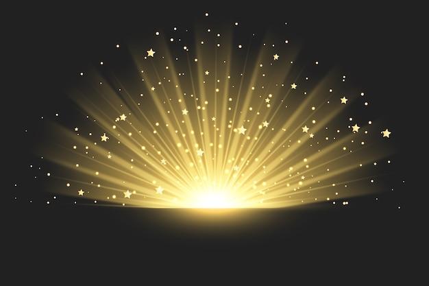 Błyszczący Efekt świetlny Wschodu Słońca Premium Wektorów