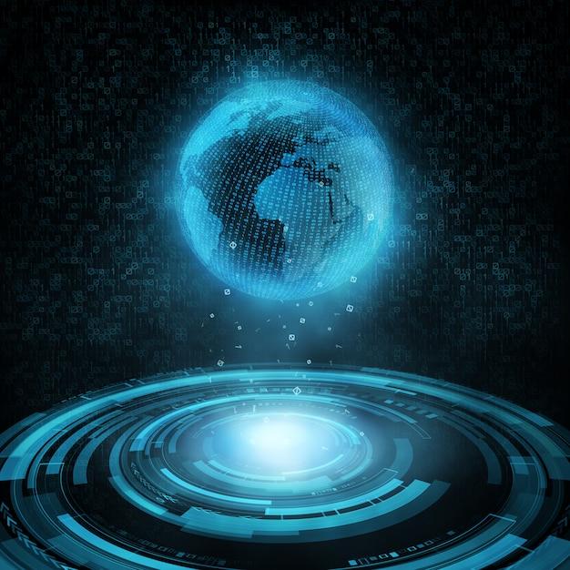 Błyszczący hud technologiczny i globus holograficzny Premium Wektorów