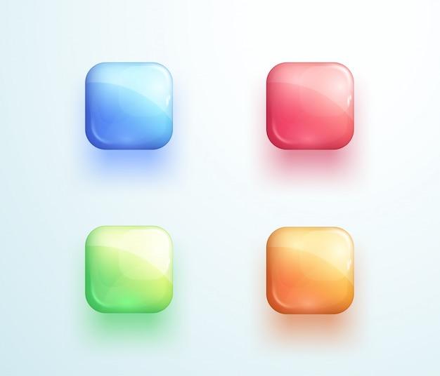 Błyszczący kwadratowy przycisk kształt ikona wektor zestaw elementów Premium Wektorów