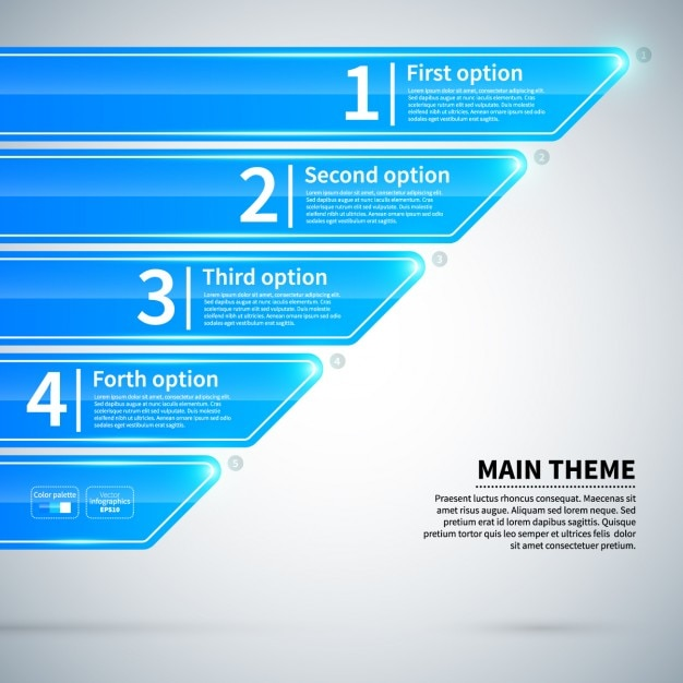 Błyszczący Niebieski Infografika Z Kartami Darmowych Wektorów