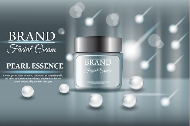 Błyszczący perłowy kosmetyk w 3d ilustraci Premium Wektorów