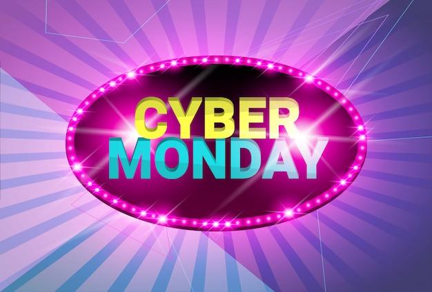 Błyszczący Projekt Cyber Monday Sale Neon Banner Premium Wektorów