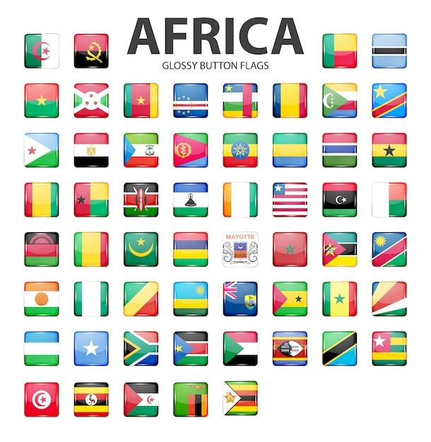 Błyszczący Przycisk Flagi Afryki. Oryginalne Kolory. Premium Wektorów