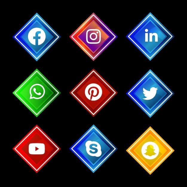 Błyszczący Przycisk Ikony Mediów Społecznościowych Premium Wektorów