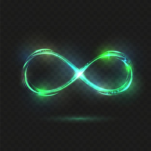 Błyszczący Symbol Nieskończoności. Przezroczysty, Lśniący Nieskończony. Premium Wektorów