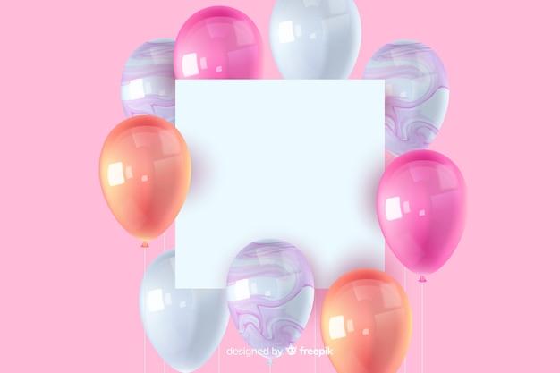 Błyszczący trójwymiarowy balon tło z pustym hasłem Darmowych Wektorów