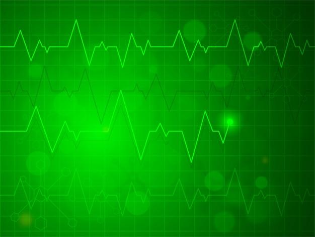 Błyszczący Zielony Tętno Pulsu Lub Elektrokardiogram Projektu, Kreatywne Tła Dla Zdrowia I Koncepcji Medycznych. Darmowych Wektorów
