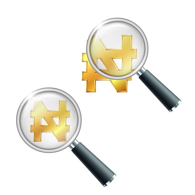 Błyszczący Złoty Znak Waluty Naira Nigeryjska Z Lupą. Wyszukaj Lub Sprawdź Stabilność Finansową. Na Białym Tle Premium Wektorów