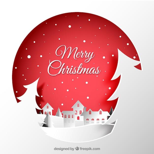 Boże Narodzenie miasta papieru tła Darmowych Wektorów