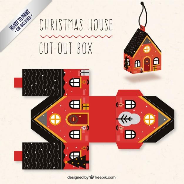 Boże Narodzenie w domu okno kolorach czerwonym i czarnym Darmowych Wektorów