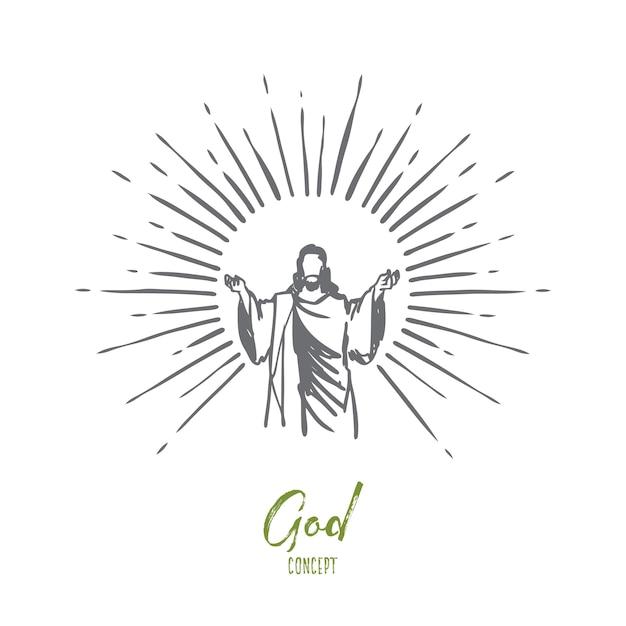 Bóg, Jezus Chrystus, łaska, Dobro, Koncepcja Wniebowstąpienia. Ręcznie Rysowane Sylwetka Jezusa Chrystusa, Szkic Koncepcji Syna Bożego. Premium Wektorów