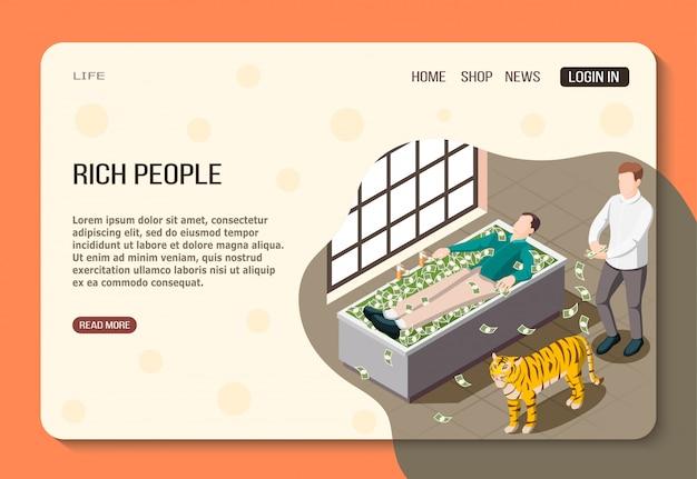 Bogaci Ludzie Izometrycznej Strony Internetowej Mężczyzn Sukcesu Z Dużymi Pieniędzmi I Tygrysem W łazience Darmowych Wektorów