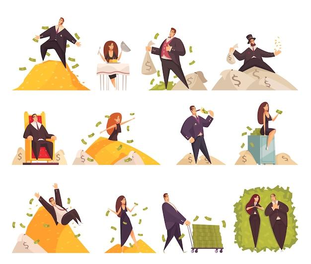 Bogaci Ludzie Płaskie Elementy Komiks Kreskówka Zestaw Z Bogatej Kobiety Kąpieli W Milionie Pieniędzy Mężczyzny Darmowych Wektorów