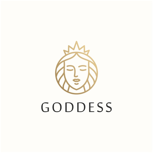 Bogini piękna kobieta wektor logo szablon projektu Premium Wektorów