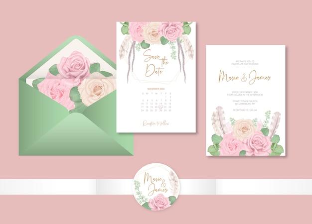 Boho ślubne Szablon Karty Z Kwiatami Premium Wektorów