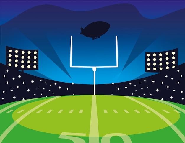 Boisko Do Futbolu Amerykańskiego Z Jasnymi światłami Premium Wektorów
