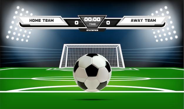 Boisko do piłki nożnej lub piłki nożnej z elementami infographic i 3d piłkę. Premium Wektorów