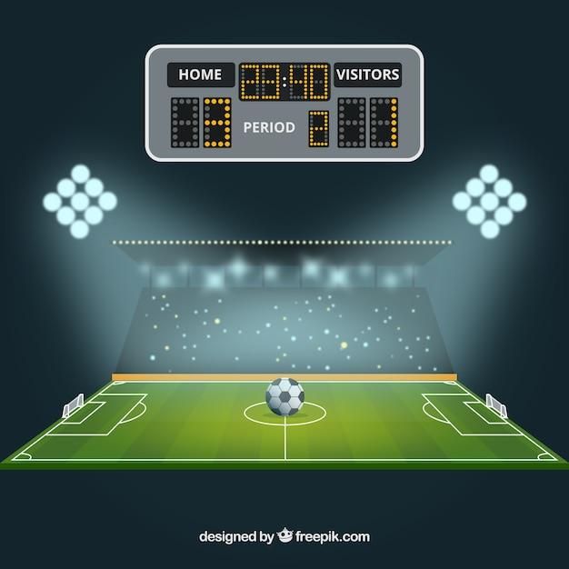 Boisko do piłki nożnej tło z tablicą wyników Darmowych Wektorów