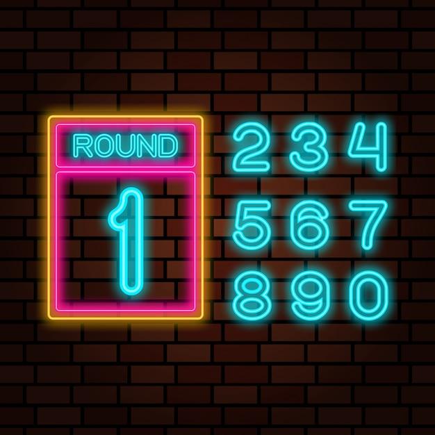 Boks z numerami neon Premium Wektorów