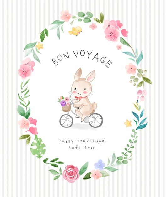 Bon Podróży Slogan Z ślicznego Królika Jeździeckim Bicyklem W Kwiatach Obramia Ilustrację Premium Wektorów