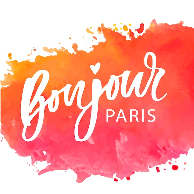 Bonjour Paris Phrase Lettering Premium Wektorów