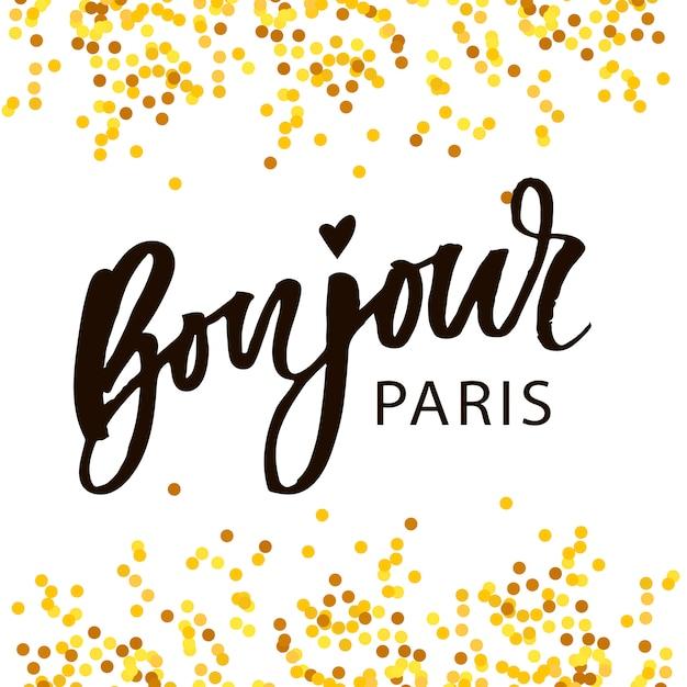 Bonjour Paris Phrase Vector Letter Calligraphy Brush Gold Premium Wektorów