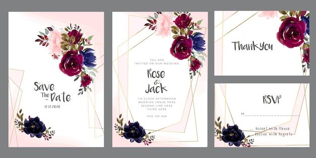 Bordowy i różowa akwarela kwiatowy zaproszenie na ślub Premium Wektorów