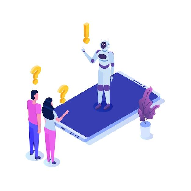 Bot Czatu, Izometryczny Sztucznej Inteligencji. Koncepcja Biznesowa Ai I Iot. Premium Wektorów
