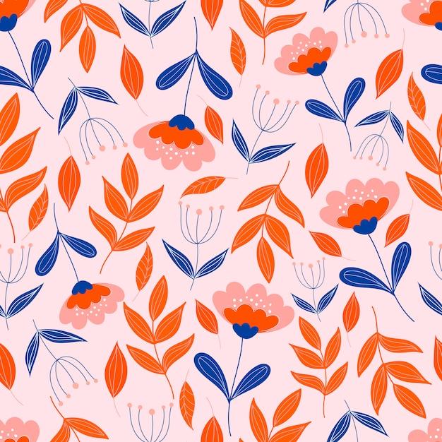 Botaniczny Wzór Z Kwiatami Na Pastelowym Różowym Tle. Tapety W Liście I Kwiaty. Premium Wektorów