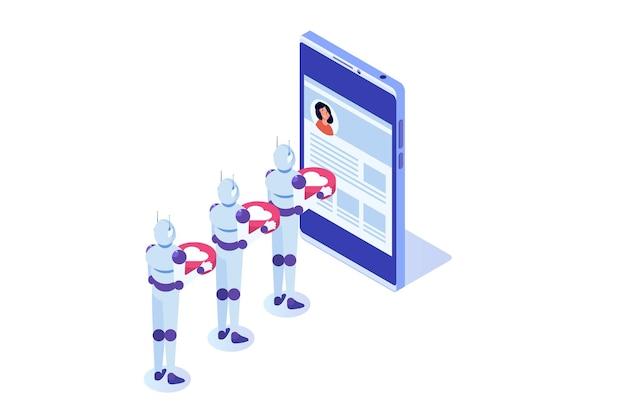 Boty Mediów Społecznościowych Fałszywe Metody Automatyzacji Koncepcji Kont W Celu Zdobycia Obserwujących Premium Wektorów