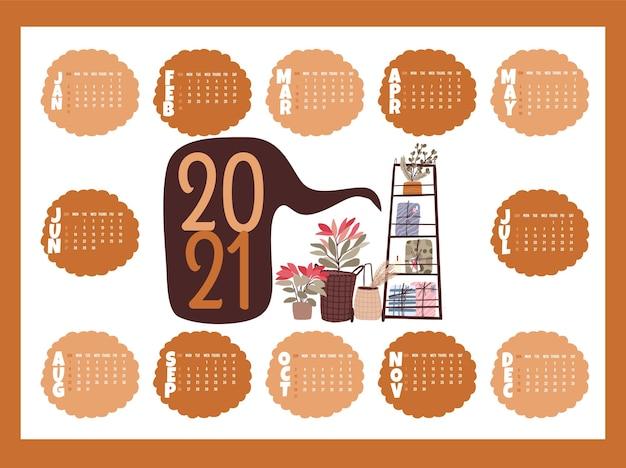 Boże Narodzenie 2021 Kalendarz świąteczny Zestaw Kolekcja Naklejki, Dziennik, Notatki Premium Wektorów