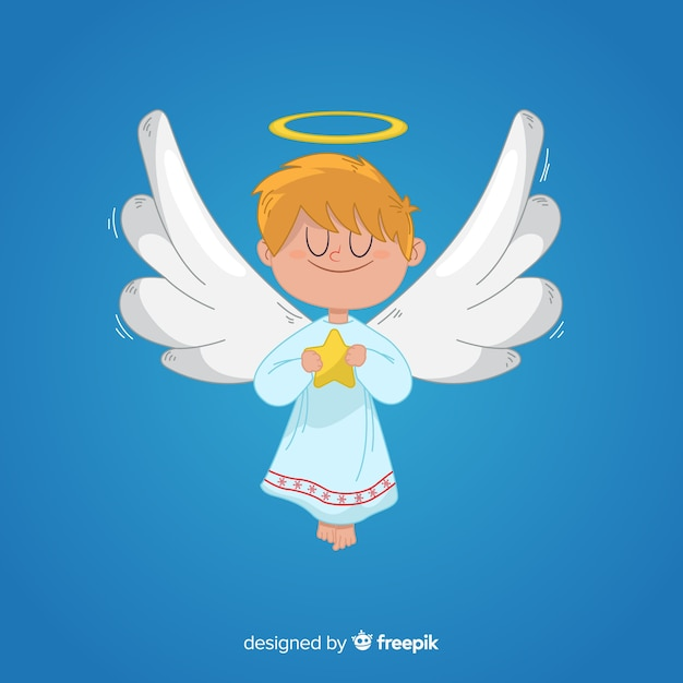 Boże Narodzenie Anioł W Ręku Rysowane Darmowych Wektorów