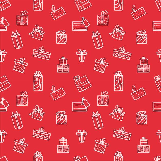 Boże Narodzenie Bez Szwu Wzór Z Białymi Ikonami Prezentów Na Czerwonym Tle. Wzór Zimowy Można Wykorzystać Do Pakowania Papieru. Ilustracji Wektorowych. Premium Wektorów