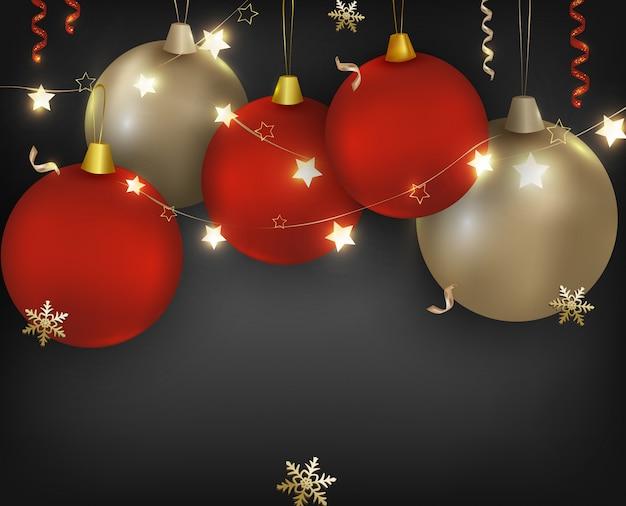 Boże Narodzenie Czerwone, Złote Kule Z Błyszczącymi Girlandami, Płatkami śniegu, światłami I Konfetti. Baner Obchodów Nowego Roku 2020. Ilustracje Premium Wektorów
