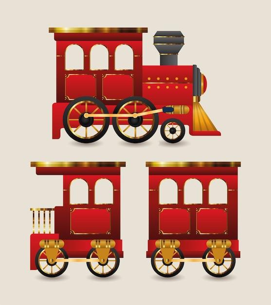 Boże Narodzenie Czerwony Projekt Pociągu Premium Wektorów